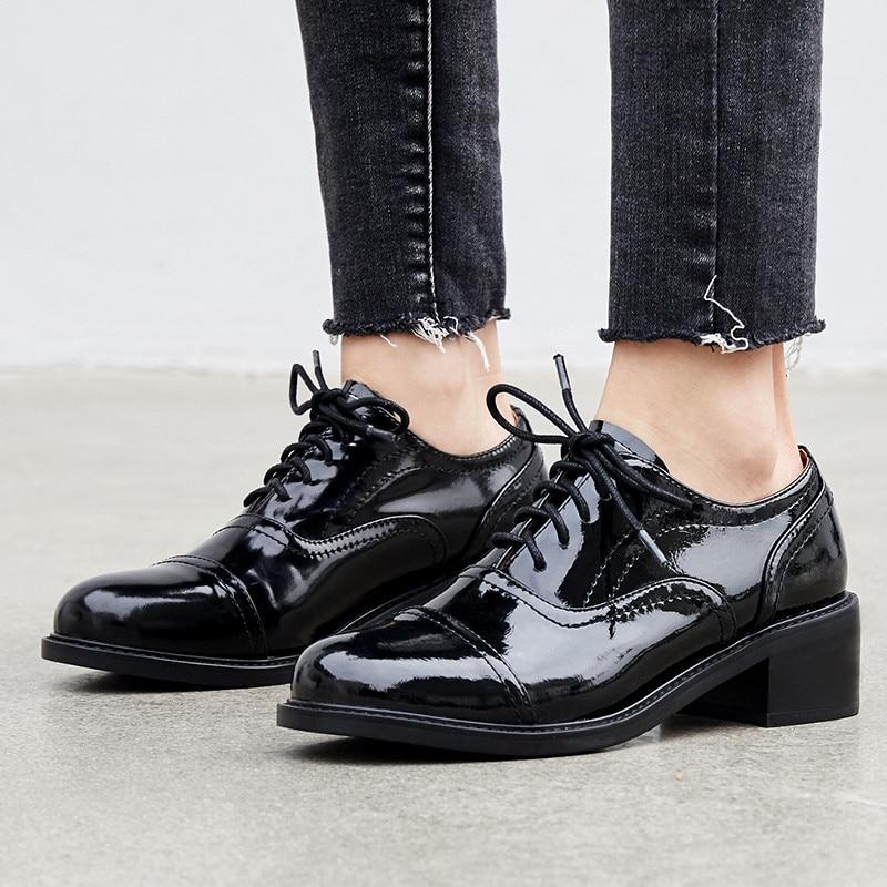 最高品質の牛革レースアップドレス女性のダービー靴女子大生の学生オックスフォード靴女性ワイン赤靴  グループ上の 靴 からの レディースフラット の中 2
