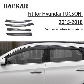 Backar 4pcs6 Auto Car Windows Rain Wind For Hyundai Tucson 2017 2018 2015 201 Sun Shield Deflector Visor Trim Accessories