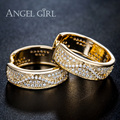Angel Girl  Hoop Earrings Round Loop with High Quality Tiny AAA+ CZ Vintage Women Earrings Hot Jewelry for women Soft lines E40