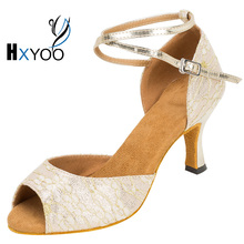 HXYOO 2017 Customized Ladies Ballroom Latin Dancing Shoes Soft Sole Women Lace Salsa Tango Dance Shoes Open Toe WK043