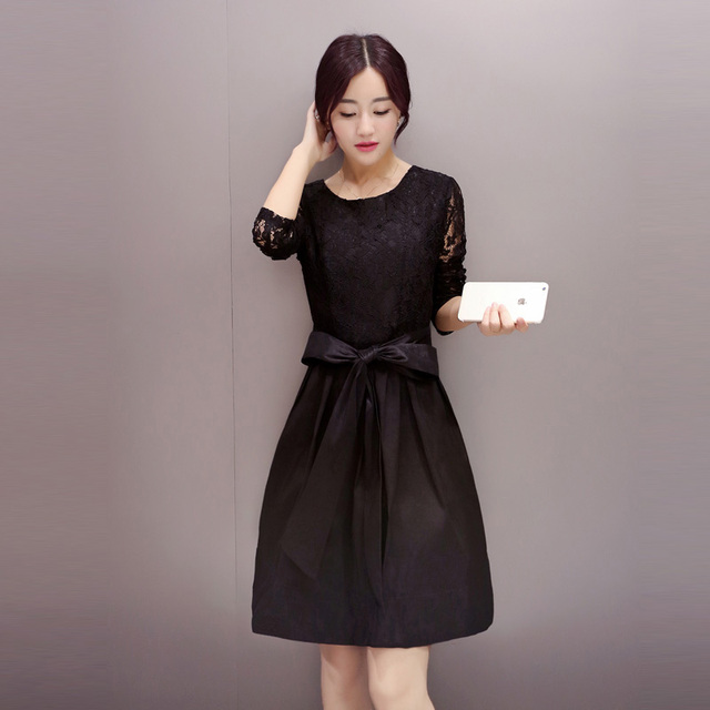 Women Lace Dress 2015 New Cute Blackred Plus Size Kawaii Long