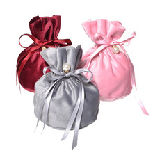 14*15cm Drawstring Velvet Pouches Wedding Gift Jewellery Candy Bags With Decor Pearl Europe Chocolate Package Bag