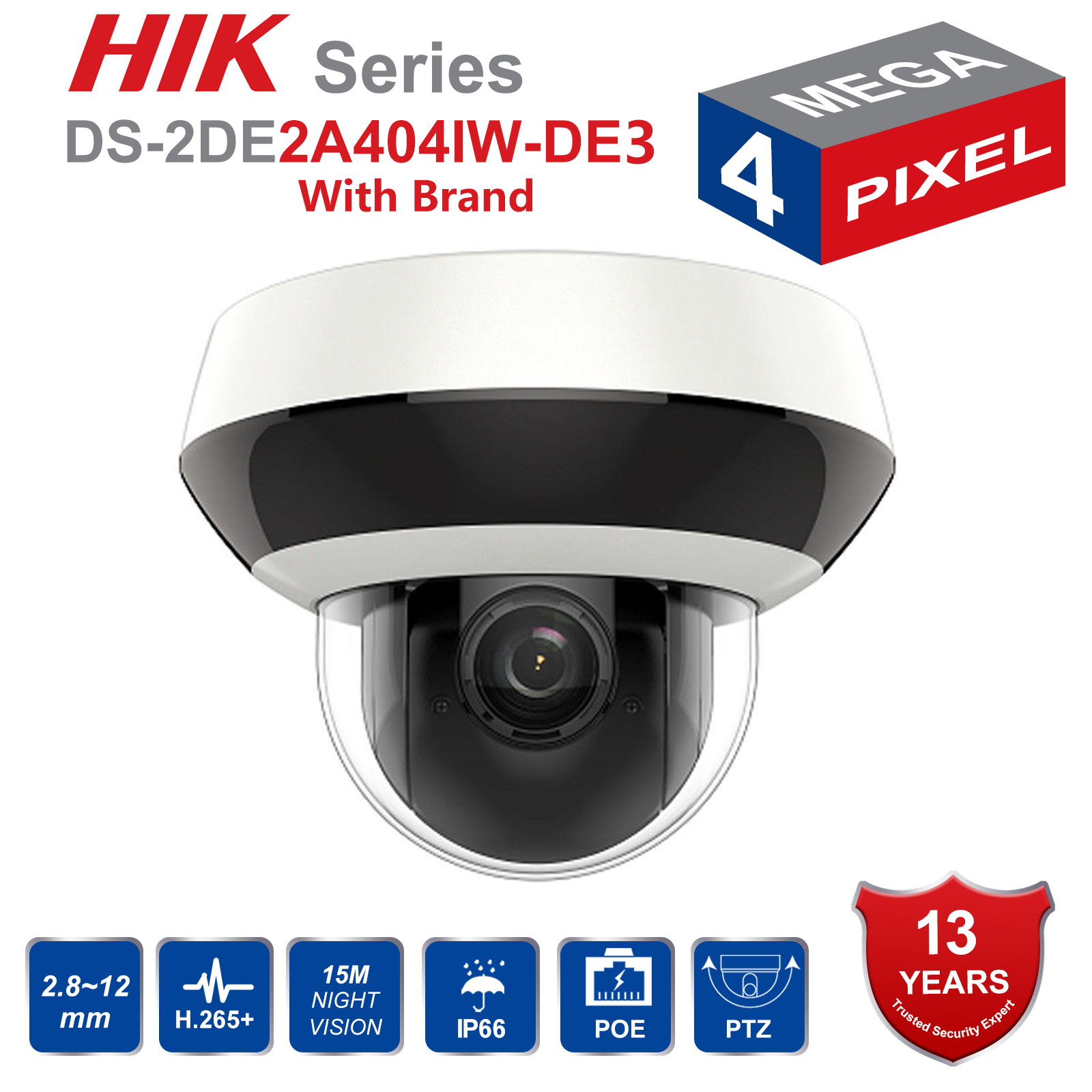 Hik PTZ IP Camera H.265 DS-2DE2A404IW-DE3 4MP 4X Zoom 2.8-12mm lens Network Video Surveillance POE Dome CCTV Camera Audio