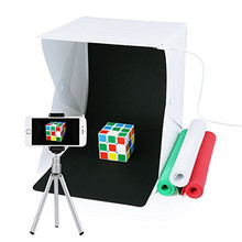 "Portable Photo Studio Mini Folding Table Top LED Light Box and Photography Lighting Tent with 4 Backdrops Kit 9.5"" x 9.5"" x 8.7"""