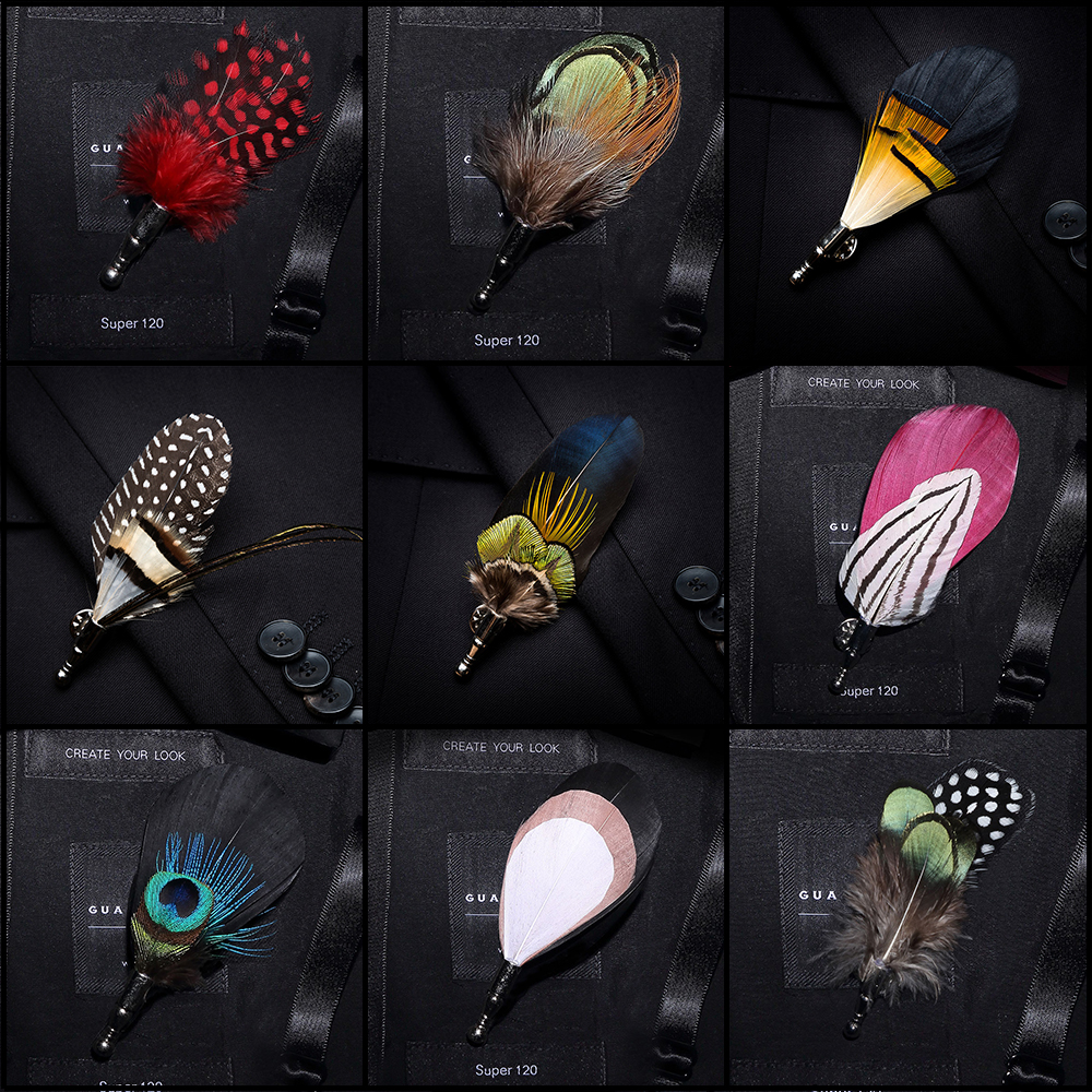 JEMYGINS 100% Feather Brooch Brooch Leaf Men And Women Jewelry Bow Tie Set Gift Box High Quality Peacock Pin Wedding Show Party