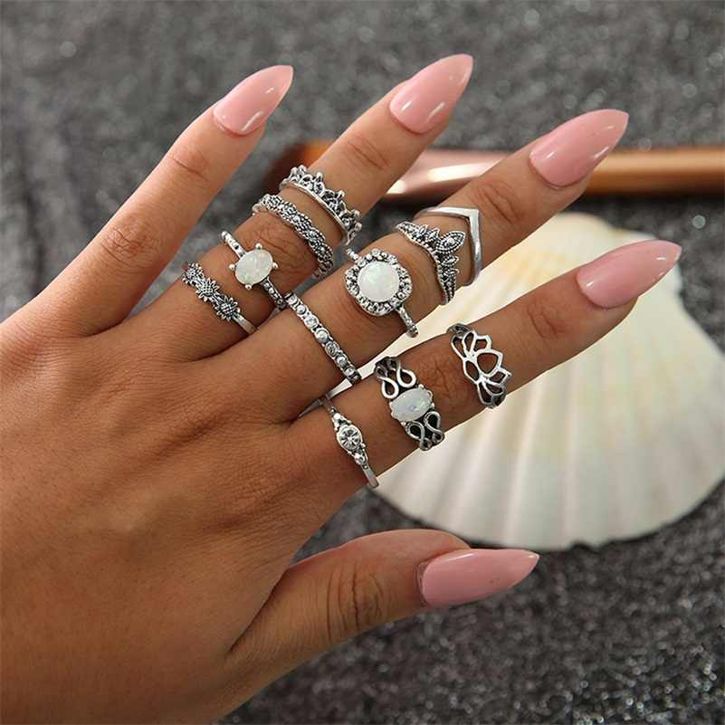 11 Pcs/set Bohemian Retro Opal Lotus Crystal Wave Silver Ring Set Women Party Charm Jewelry Accessories