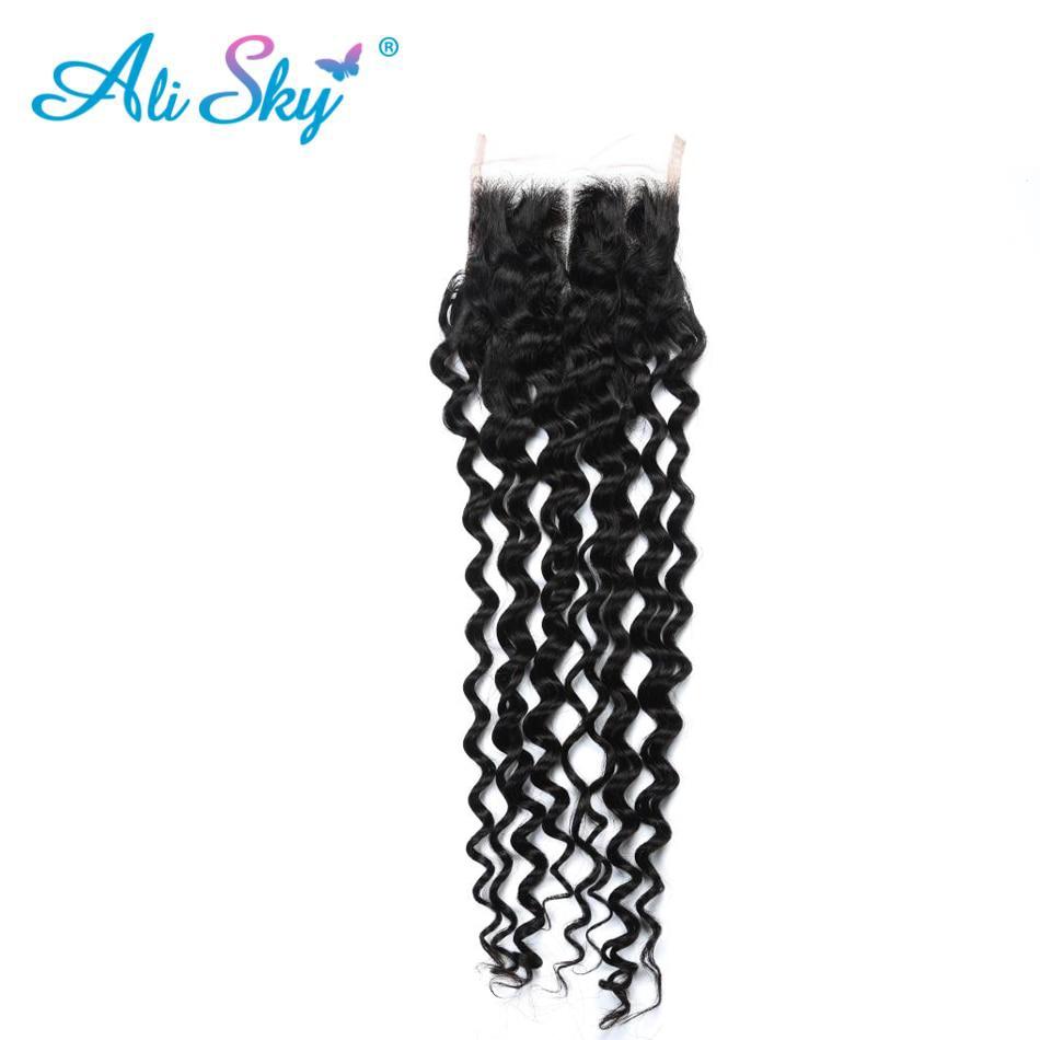 Deep Curly Bundles With Closure 4 Pcs 100% Indian Human hair Bundles With Closure Ali Sky Non-remy Hair Bundles No Shedding