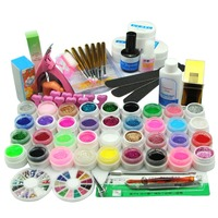 36 Colors UV Gel Nail Polish Set Nail Art Tools Brushes Glitter Gel Varnish Manicure Sets & Kits Without Nail Lamp