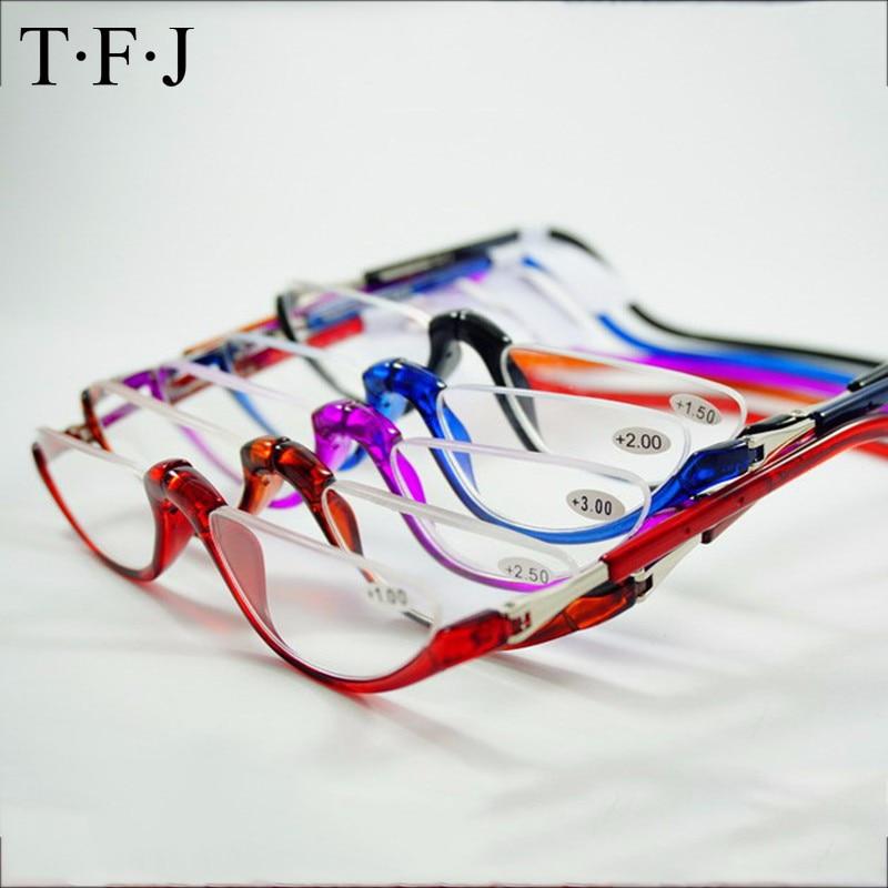 نصف القراءة بدون شفة المغناطيسي للطي نظارات القراءة +1.0 1.5 2.0 2.5 3.0 الرقبة شنق نظارات إطارات البلاستيك المغناطيس gafas دي ليك