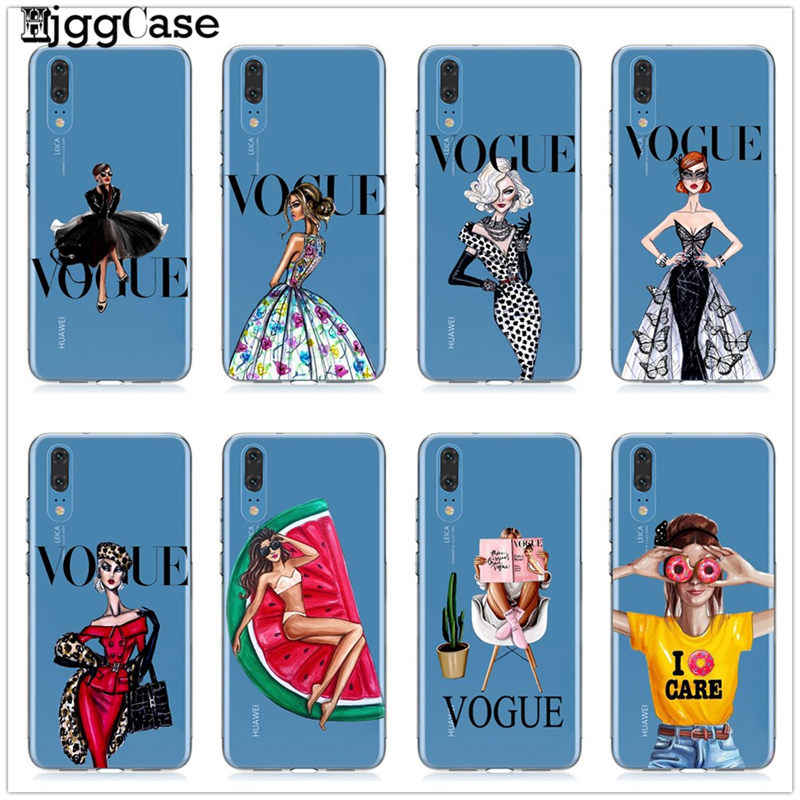 TPU Patterned Case For Huawei P20 Lite Mate 10 20 Lite Pro P10 Lite P20 Pro For Honor 10 9 Lite 8X 8C VOGUE Christmas girl Cover