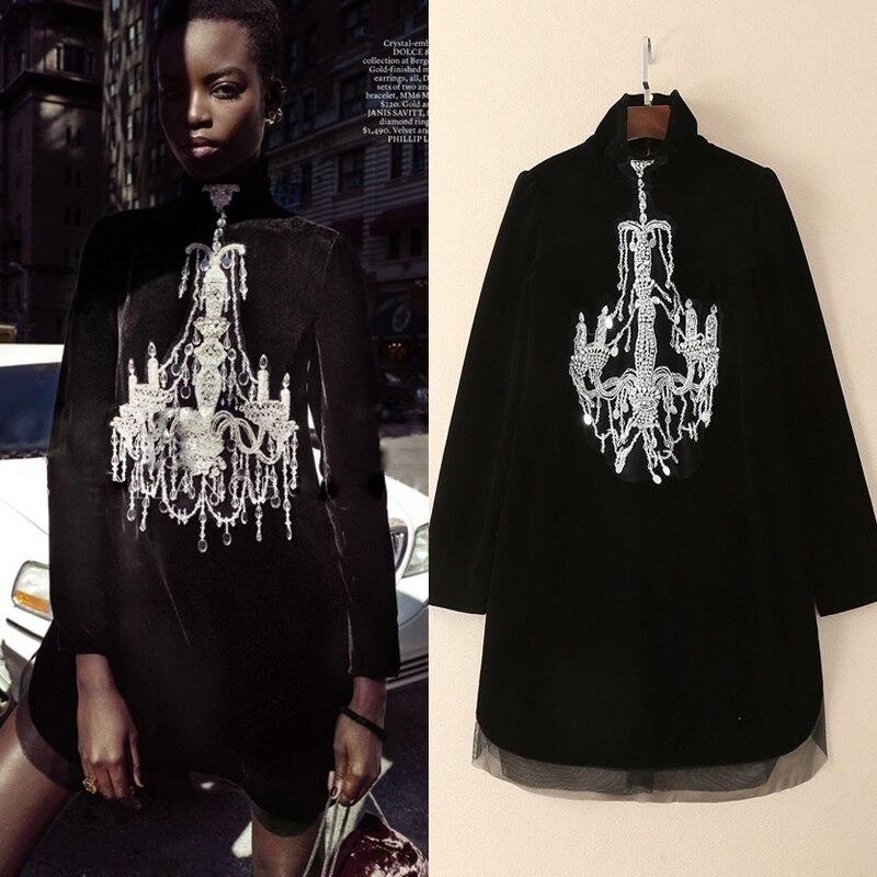 High Quality 2018 Spring Runway Fashion New Velvet Fabric Complex Hand Beaded Diamond Button Long Sleeve