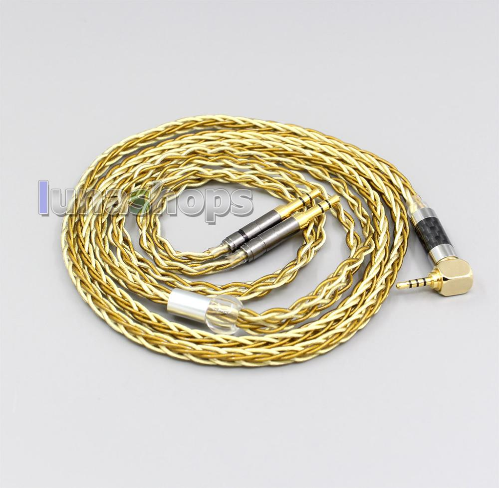 LN005976 Pure OCC Silver+Golden Plated Headphone Cable For Focal Elear Iriver AK T1P Denon AH D600 D7100 Velodyne vTrue-in Earphone Accessories from Consumer Electronics    1