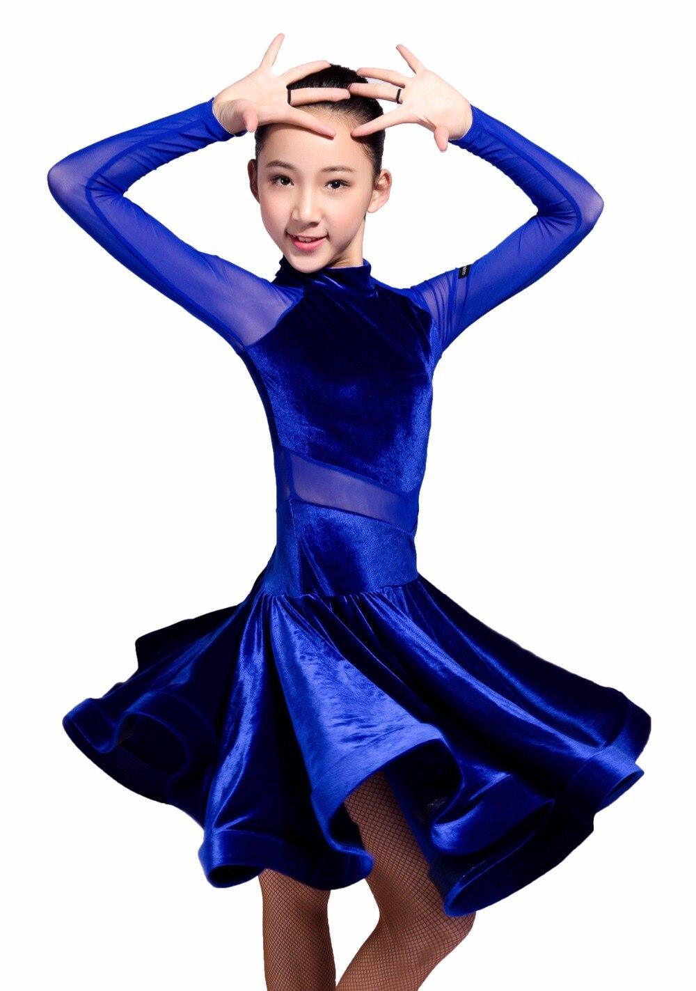 GD3102 kid latin ballroom party dance professionnel net fil et velours épissage conception performance robe pour fille