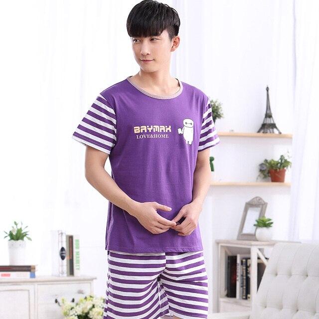 1071 100% Cotton Large size Men's Purple Home wear