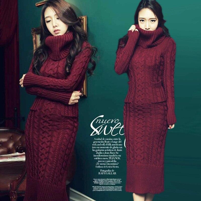 Uwback 2017 Winter Sweater Dress Women Plus Size Knitted Turtleneck Slim Winter Dresses Female Long Black Dress Mujer TB1251