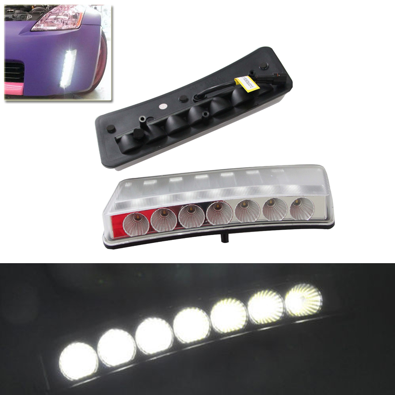 Brand New Led Daytime Running Lights Fog Lamp Kit For Nissan 350Z Pre-LCI 03-05 Xenon White Car Led Daylights Auto Driving Lamp direct fit for nissan 350z pre lci led daytime running lights 7 led xenon white drl driving fog lamps daylights car styling