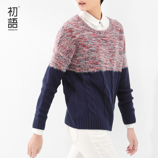 Toyouth Autumn Winter Sweaters Lady O-Neck Color Contrast Patchwork Long Sleeve Pullovers Women Sweaters Females Tops