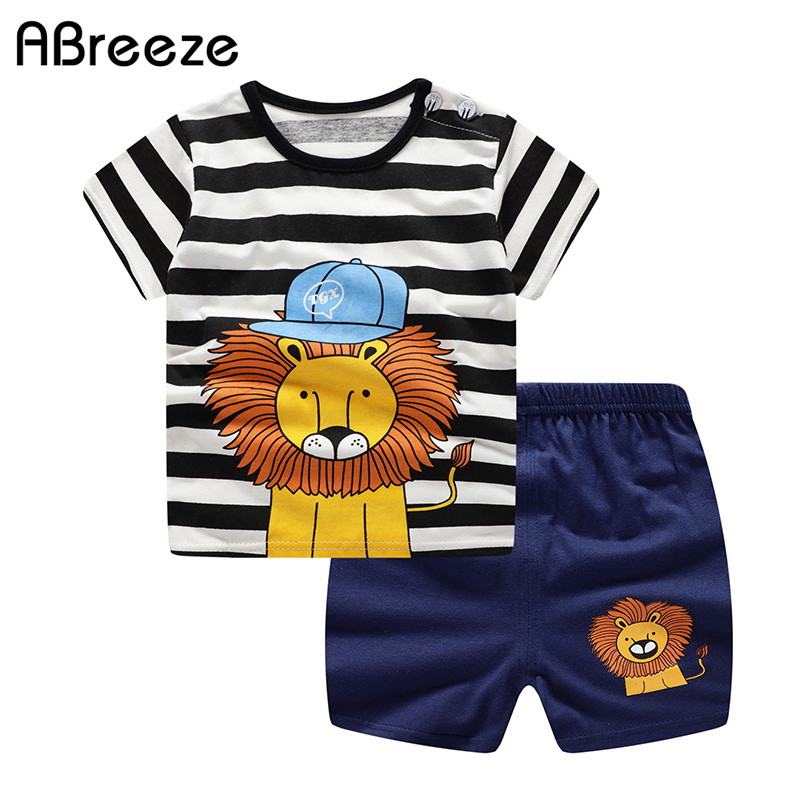 Newborn Clothing Sets Summer Baby Clothes For Boys & Girls Cotton Lion Print Baby Sets 0-2Y Baby Child Clothes 2PCS