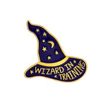 Wizard In Training Personality Witch Magic Wizard Hat Brooch Star Moon Enamel Pin Denim Jacket Jewelry Gifts For Children Women(China)