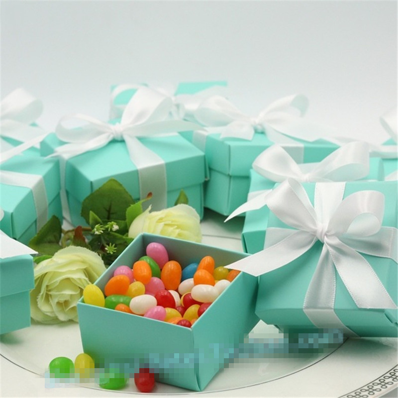 100pcs lot blue Wedding Candy Box Blue Wedding Favor Boxes wedding baby shower favors and gifts