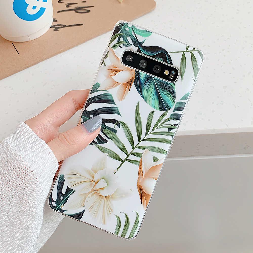 Bitkiler Çiçek ve Yaprak Telefon Kılıfları Samsung Galaxy A50 A40 A70 S8 S9 S10 Artı S10e Yumuşak IMD Darbeye Dayanıklı telefon arka kapak Kılıfları