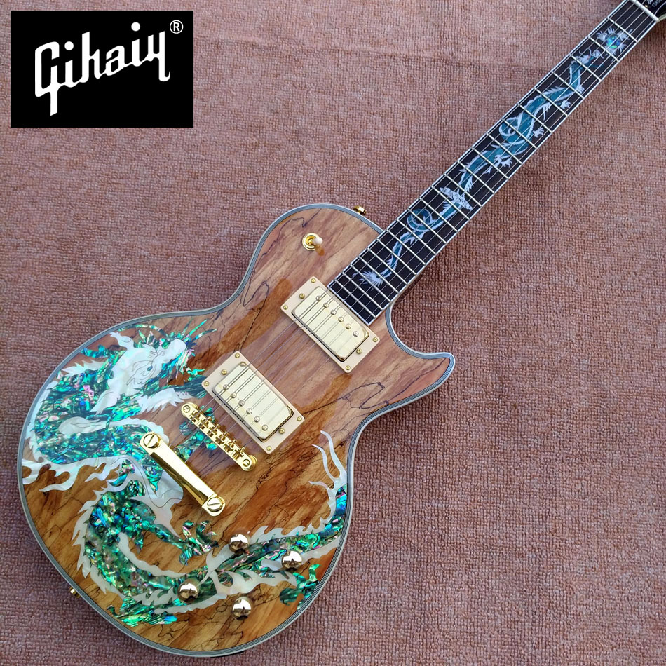 купить New high-quality custom LP electric guitar, Abalone Dinosaur inlaid fingerboard & body custom LP Electric guitar, free shipping по цене 28882.12 рублей