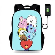 Cartoon BTS BT21 Girls SchoolBags backpacks SchoolBags satchel for kids orthopedic packbag mochila escolar Usb Charge book Bag