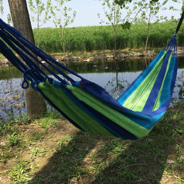 Hanging Chair Furniture Hamaca Portable Outdoor Garden Hammock Hang Travel  Camping Swing Canvas Stripe Indoor Children