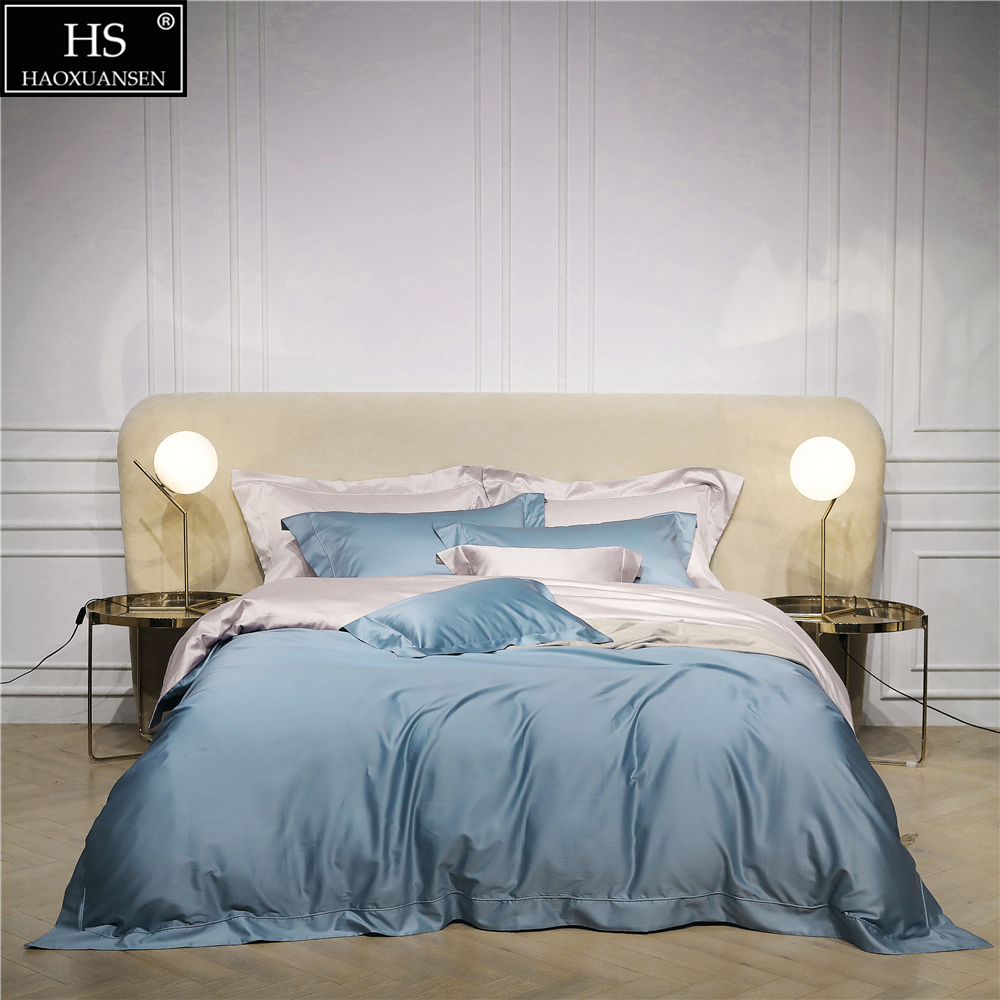 120S Egyptian Cotton Blue Beige Luxury Bedding Set 4Pcs King Queen Bed Sheet Duvet cover Pillow shams Simple Bright Lively
