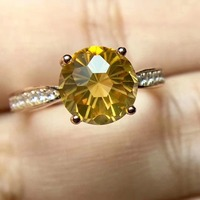 Real And Natural Citrine ring Free shipping Real natural citrine 925 sterling silver Fine yellow gem 8mm