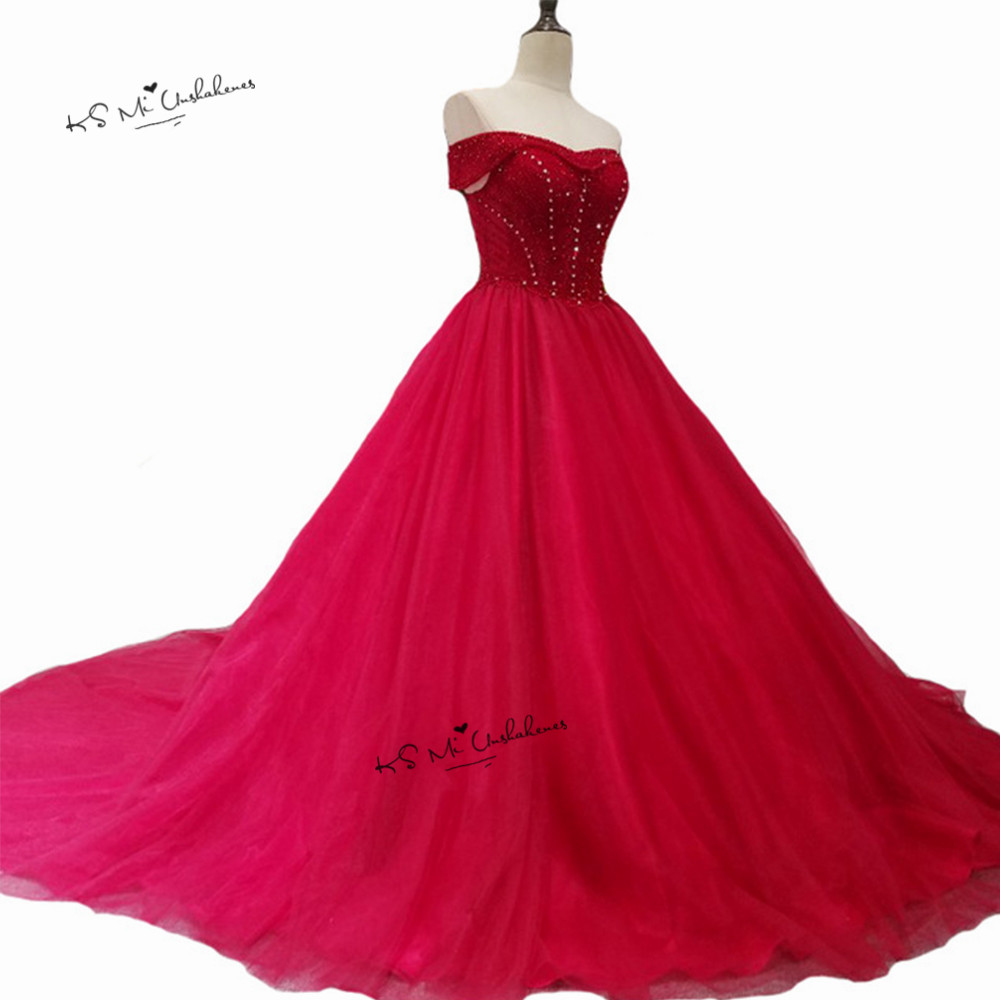 Red Gothic Wedding Gowns Cheap China Bridal Dresses 2018 Beaded off Shoulder Plus Size Wedding Dress Corset Back Robe de Mariage