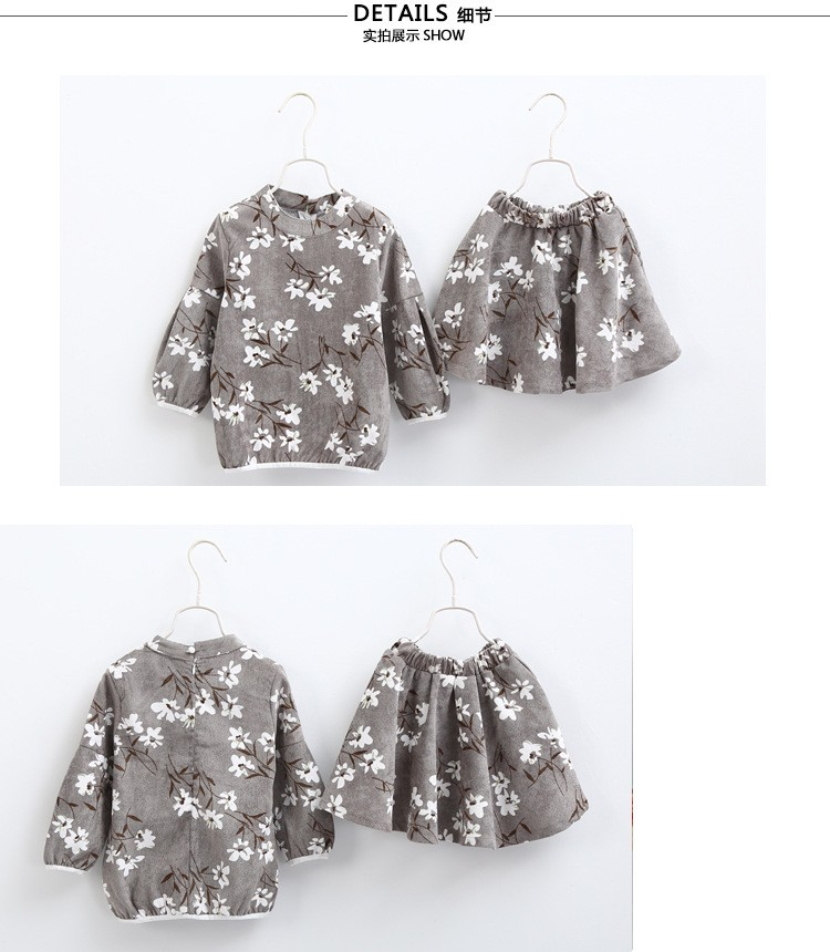 Baby-girl-clothe-children-clothes-flower-set-three-quarter-sleeve-sweatshirt-Skirt-for-fashion-individualizing-girls