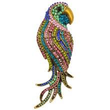 Elegante de moda Encantador Lindo Loro Rhinestone Grande Broches Prendedores Para Mujeres Joyería de La Manera de Banquetes Decoración XZ035
