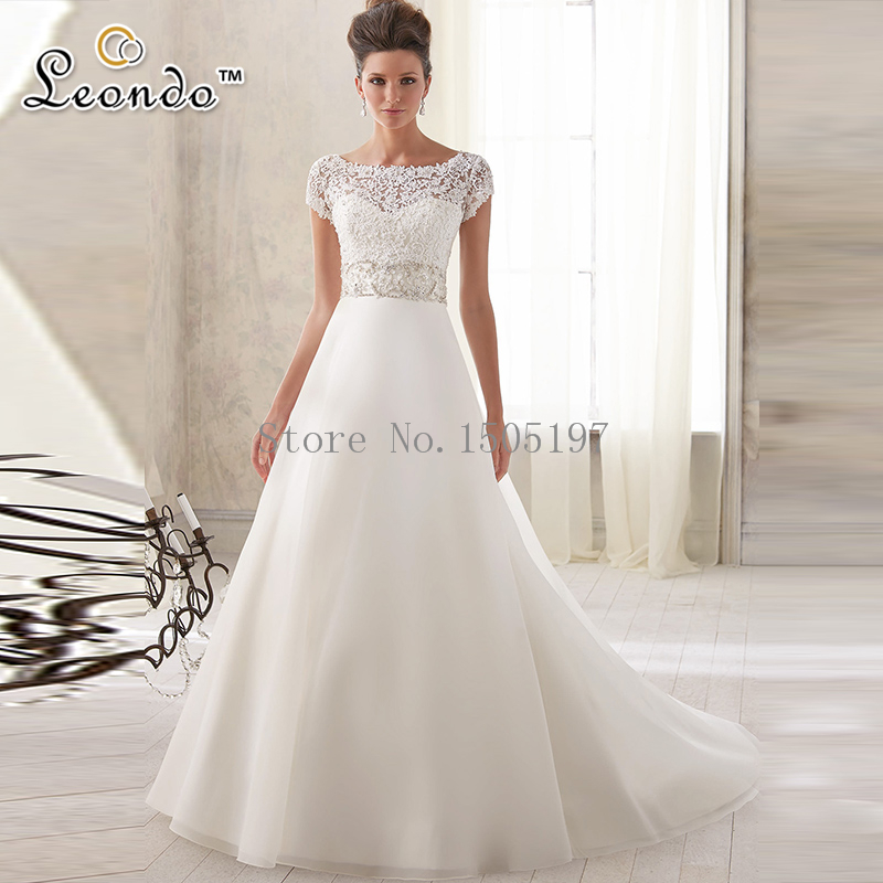 Online Shop Charming 2016 Bridal Gowns Sheer Sleeve Wedding Beaded Crystal A Line Dress With Long Train