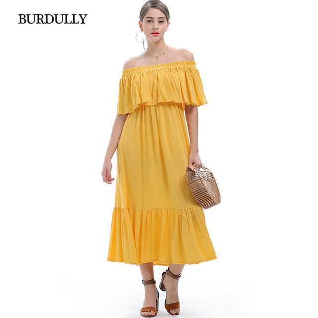 Burdully 2018 Korean Summer Sexy Women Dress Plus Size Long Casual