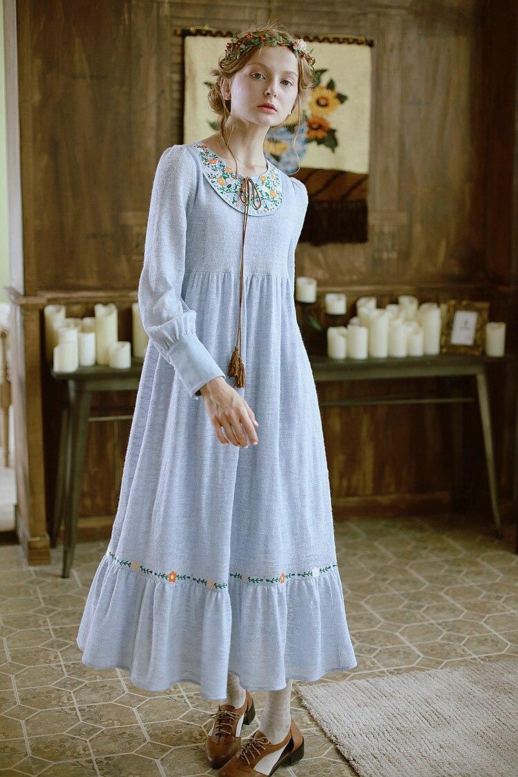 Pièce Seule Gland Longue Robe Femmes Light Tricoté Lanterne Lianer Bleu Blue Aigyptos D'une Broderie Frais Anthocaulus D'eau Goldenbarr Manches Z6Rqw