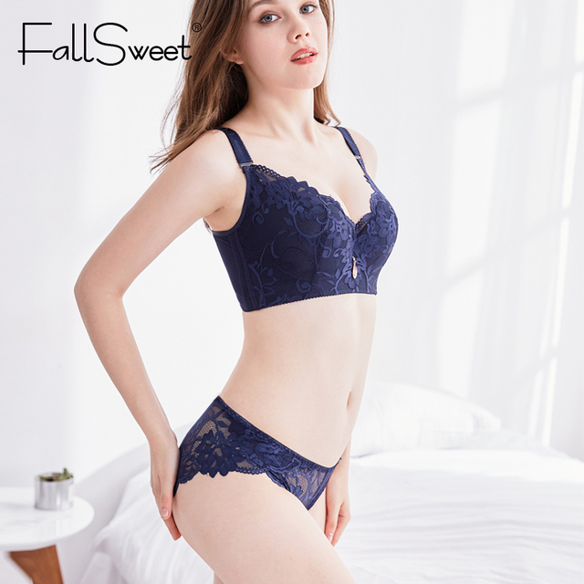 360b2c6e37 FallSweet Push Up Lace Bra Set for Women PLus Size Bra and Panties Set Sexy  Lingerie
