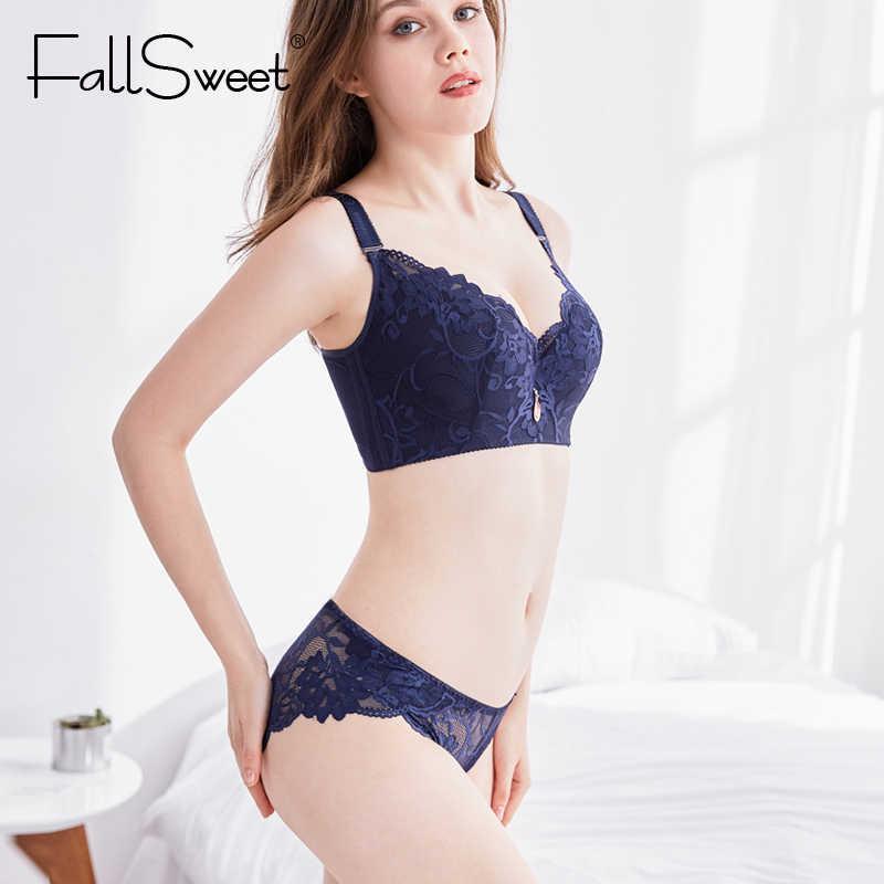 FallSweet biustonosz Push Up z koronką dla kobiet PLus rozmiar biustonosza i zestaw fig seksowny komplet bielizny biały czarny