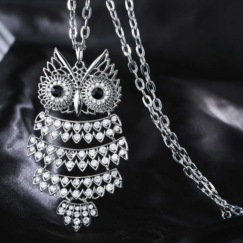 Silver Full Crystal Owl Necklaces & Pendants For Women Gold Silver Long Sweater Necklace Fashion Jewelry Girl Party Gift