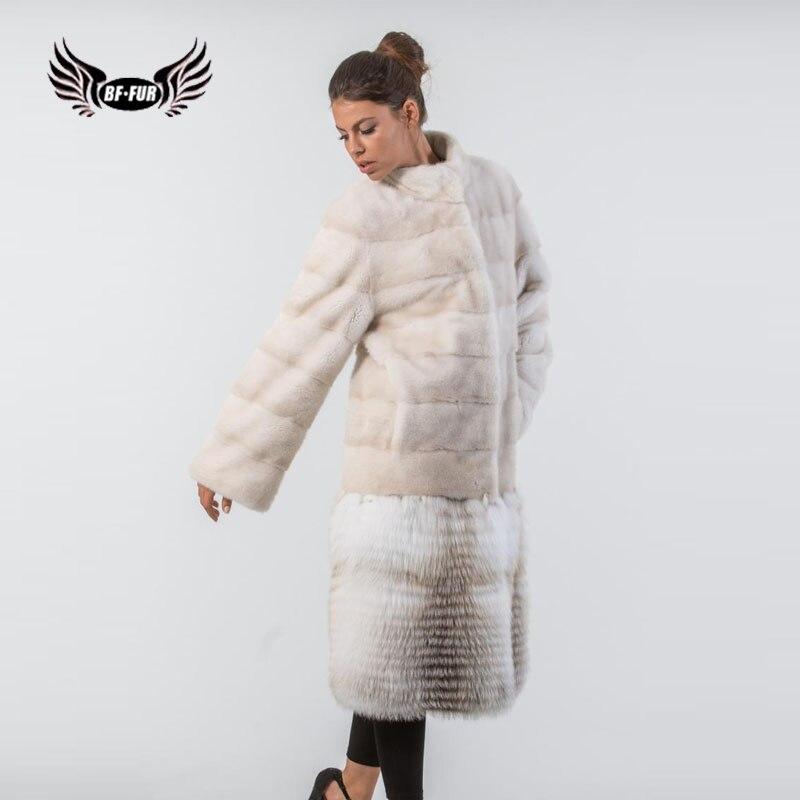 Женская Шуба из норки BFFUR, длинная теплая шуба из натурального меха норки высокого качества, новинка 2019