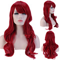"19"" 48cm Full Head Curly Dark Red Wigs Heat Resistant Synthetic Hair Wig for Women Daily/costume Party/cosplay"