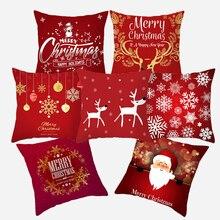 Рождественская наволочка для подушки 45*45, красная, с рождественским принтом, полиэфирная декоративная наволочка для дивана, украшения дома