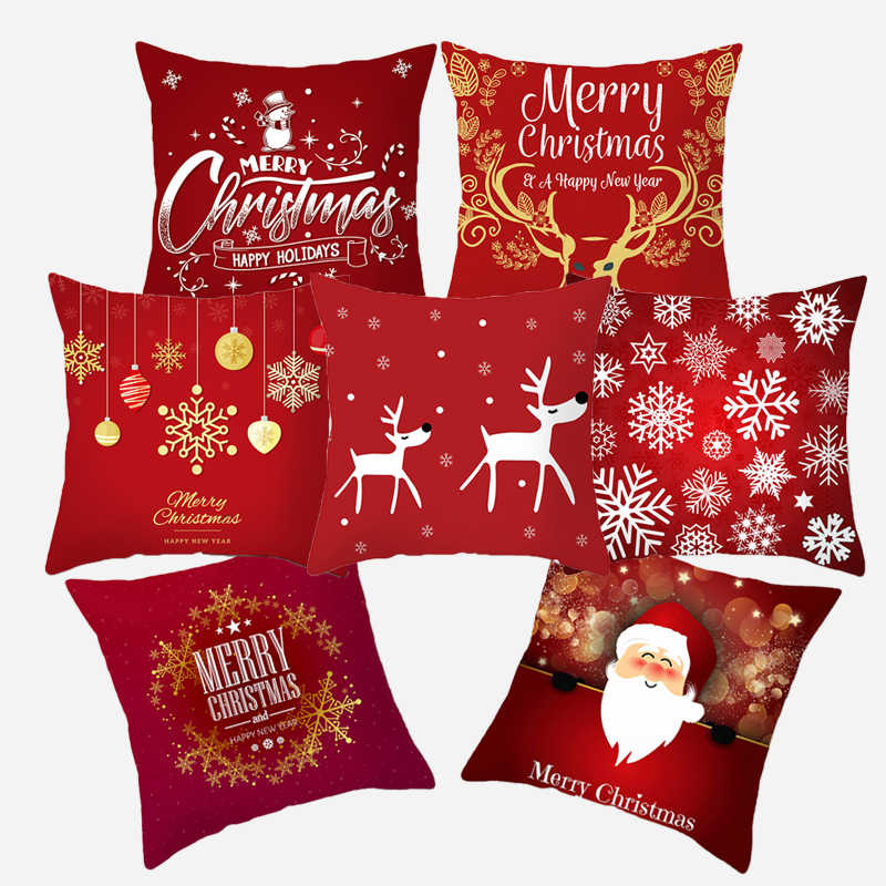 Christmas Cushion Cover 45*45 Red Merry Christmas Printed Polyester Decorative Pillows Sofa Home Decoration Pillowcase