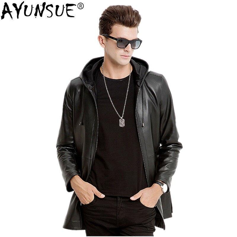 AYUNSUE зимняя куртка для мужчин из натуральной овечьей кожи Куртка мужская осень г. плюс размеры пальто Jaqueta De Couro M6660 MY791 - Цвет: black