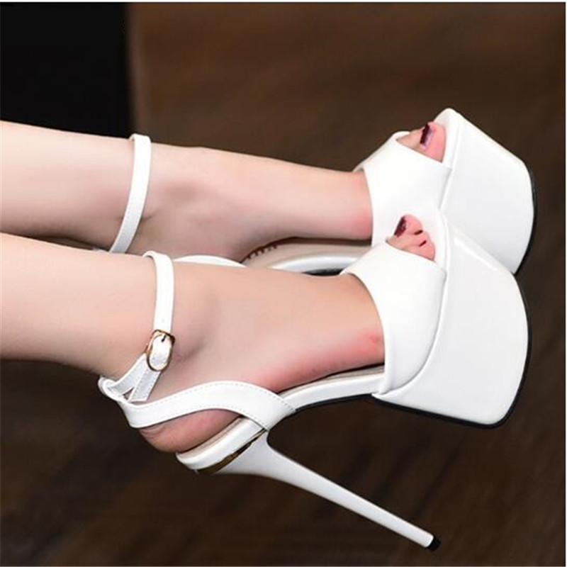 Shoes women new Europe and the United States catwalk club patent leather high heel sexy sandals heels 17 cm heels catwalk sexy supermodels catwalk shoes super high heels shoes 20 cm cos props nightclub paris fashion boots