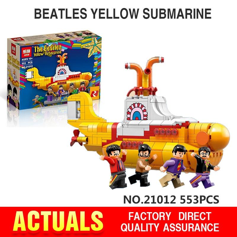 Lepin 21012 The Beatles John Winston Lennon Paul McCartney Harrison Ringo Starr Yellow Submarine Building Blocks Models Toys lepin 21012 builder the beatles yellow submarine with 21306 building blocks bricks policeman toys children educational gift toys