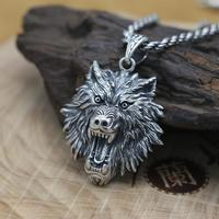 NEW 100% 925 Silver Wolf Head Pendant Vintage Sterling POWER WOLF Pendant Man Jewelry Necklace Pendant PUNK Jewelry
