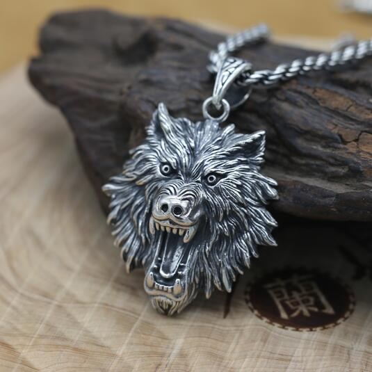 Nouveau 100% 925 argent tête de loup pendentif Vintage Sterling puissance loup pendentif homme bijoux collier pendentif PUNK bijoux