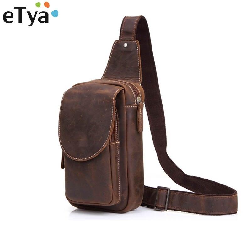 eTya Men Messenger Bags Genuine Leather Men's Bags Travel Chest Pack Sling Chest Leather Shoulder Bags Crossbody Bags for Men etya men s wallet genuine leather short