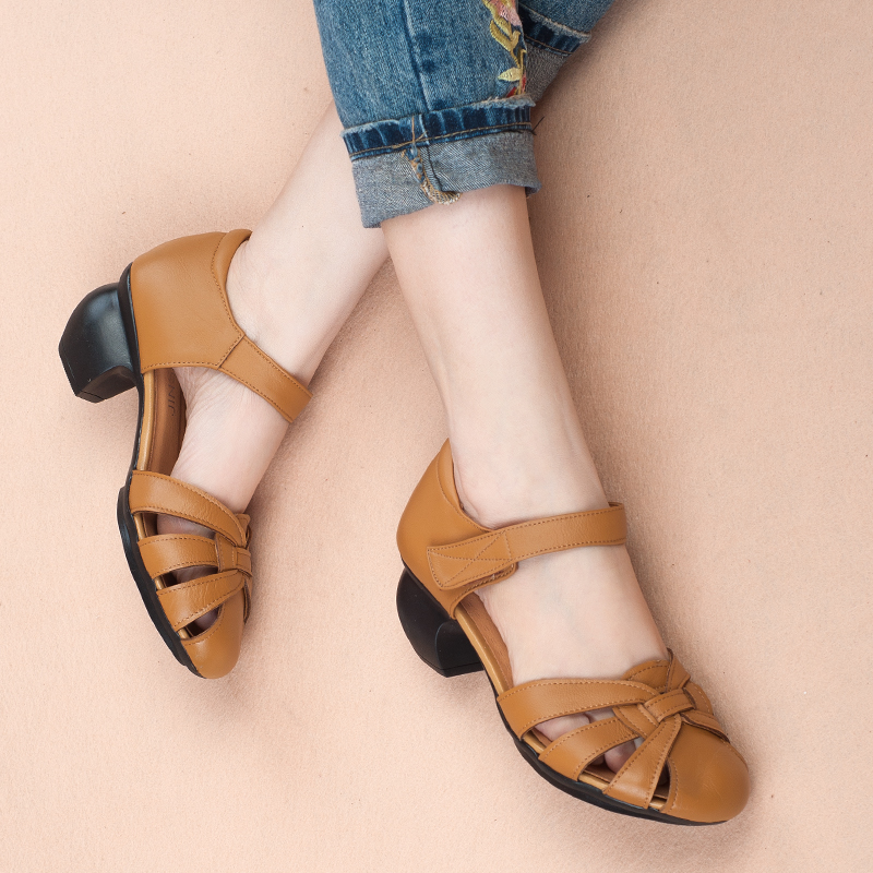 woman sandals 2018 summer new comfortable non-slip leather hollow female sandals simple leather middle-aged mother shoes female aiyuqi 2018 new genuine leather women sandals summer flat middle aged mother sandals plus size 41 42 43 casual shoes female